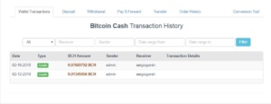 BCH Wallet History